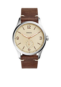 Fossil Men's Vintage 54 Two-Hand Sub-Second Dark Brown Leather Watch