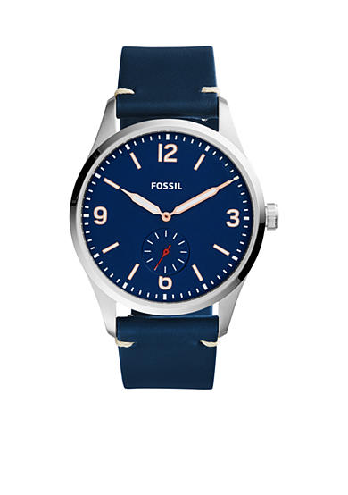 Fossil® Men's Vintage 54 Two-Hand Sub-Second Blue Leather Watch