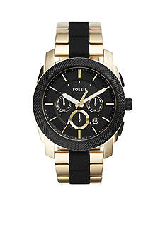 Fossil® Machine Chronograph Black Silicone and Gold-Tone Stainless Steel Watch