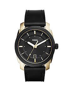 Fossil® Machine Three-Hand Date Black Leather Watch