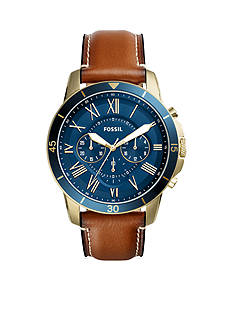 Fossil® Men's Gold-Tone Grant Sport Chronograph Luggage Leather Watch