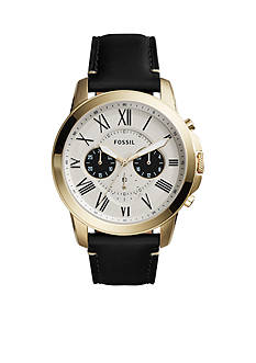 Fossil® Grant Chronograph Black Leather Watch