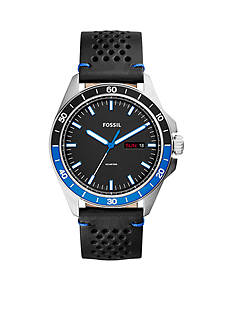 Fossil Sport 54 Three-Hand Day-Date Leather Watch