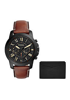 Fossil Grant Chronograph Leather Watch and Card Case Box Set