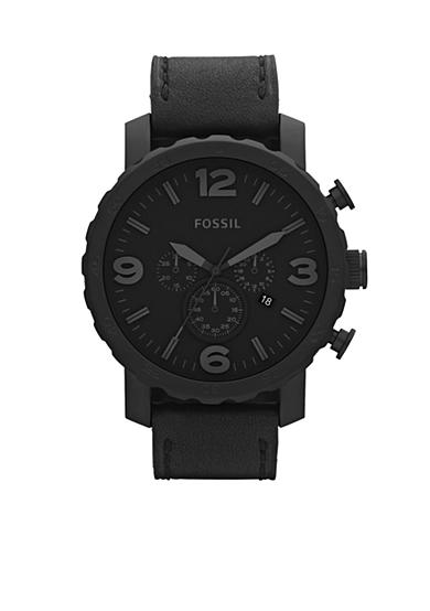 Fossil® Nate Stainless Steel and Leather Watch-Black