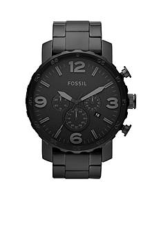 Fossil® Men's Black Stainless Steel Chronograph Nate Watch