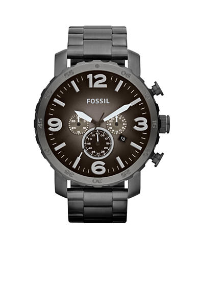 Fossil® Men's Smoke Stainless Steel Chronograph Nate Watch
