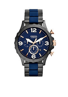 Fossil Nate Chronograph Black Stainless Steel and Blue Silicone Watch