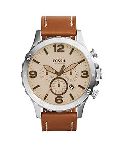 Fossil Men's Nate Brown Trench Leather Chronograph Watch