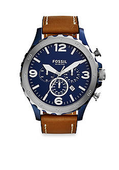 Fossil® Men's Nate Brown Leather Strap Chronograph Watch