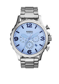 Fossil® Men's Nate Stainless Steel Bracelet Chronograph Watch