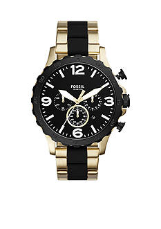 Fossil® Nate 50mm Chronograph Black Silicone and Gold-Tone Stainless Steel Watch
