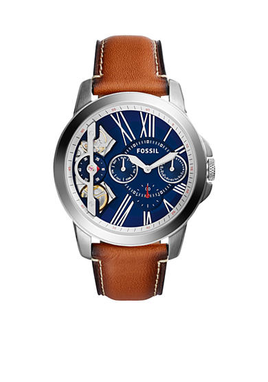 Fossil® Men's Grant Twist Three-Hand Luggage Leather Watch