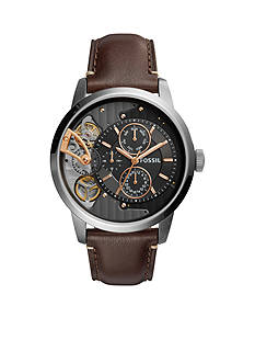 Fossil Men's Townsman Twist Multifunction Dark Brown Leather Watch