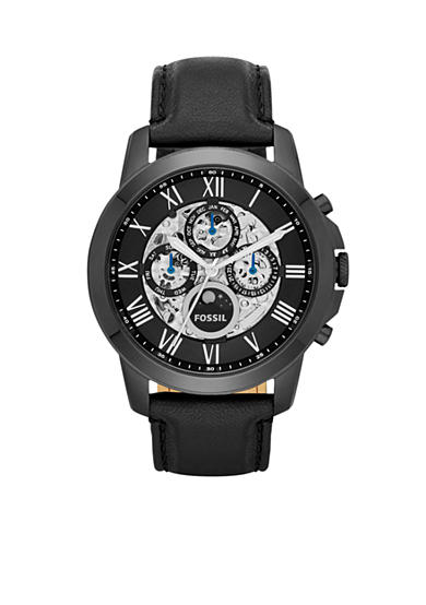 Fossil® Grant Automatic Black Leather Watch