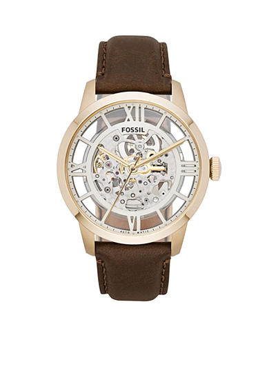 Fossil® Men's Townsman Automatic Brown Leather Watch