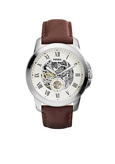 Fossil® Men's Brown Leather Grant Mechanical Automatic Watch