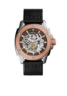 Fossil® Modern Machine Black Leather Strap Automatic Watch
