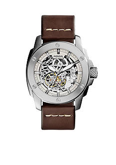 Fossil® Modern Machine Brown Leather Strap Automatic Watch