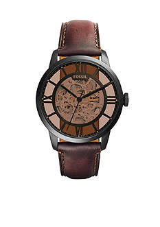 Fossil Townsman Brown Leather Automatic Watch