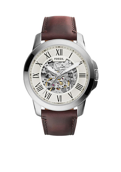 Fossil® Men's Grant Brown Leather Automatic Watch