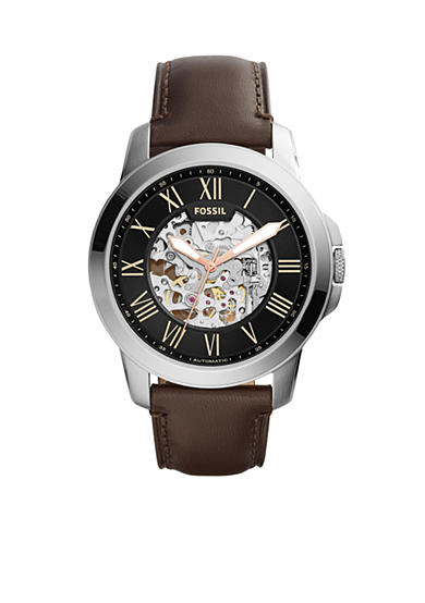 Fossil® Men's Grant Dark Brown Leather Mechanical Watch