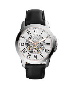 Fossil® Men's Grant Black Leather Automatic Watch