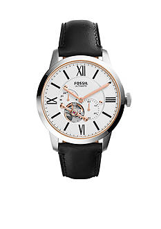 Fossil® Townsman Black Leather Automatic Watch