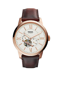 Fossil Townsman Dark Brown Leather Automatic Watch