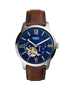Fossil® Men's Townsman Brown Leather Automatic Watch