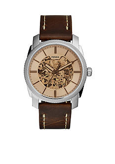 Fossil® Men's Machine Brown Leather Automatic Watch
