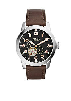 Fossil® Men's Pilot Automatic Dark Brown Leather Watch