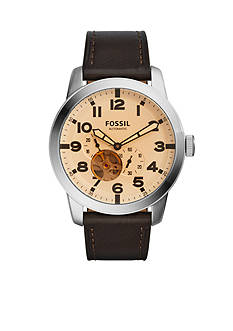Fossil® Men's Pilot 54 Automatic Dark Brown Leather Watch