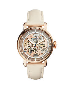 Fossil® Women's Original Boyfriend Mechanical White Leather Watch