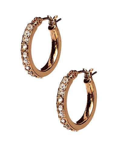 Anne Klein Small Crystal Hoop Earrings