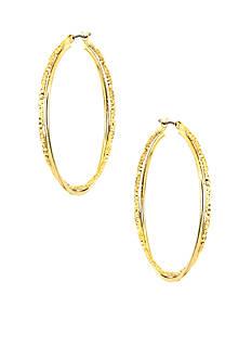 Anne Klein Medium Gold Twisted Hoop Earrings