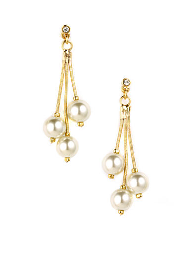 Anne Klein Linear Pearl Drop Earrings