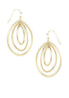 Anne Klein Gold Oval Drop Earrings