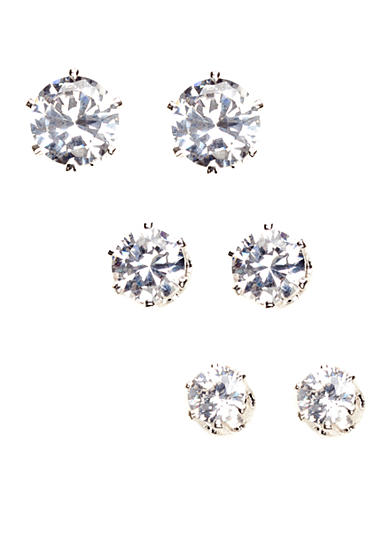 Anne Klein Set of 3 Crystal Cubic Zirconia Earrings