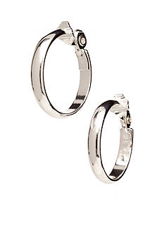 Anne Klein Large Silver-Tone Clip Hoop Earrings