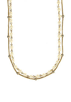 Anne Klein Chain And Pearl Multi-Strand Necklace