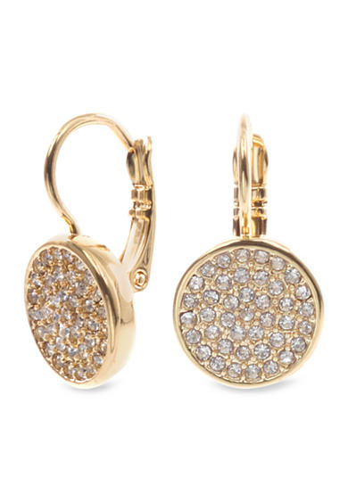 Anne Klein Gold Tone Pave Drop Earring