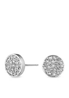 Anne Klein Silver Tone Pave Stud Earrings