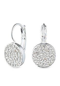 Anne Klein Silver Tone Pave Drop Earrings
