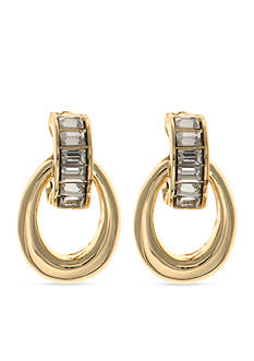 Anne Klein Gold-Tone Crystal Drop Clip Earrings