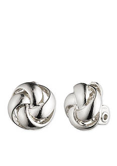 Anne Klein Silver-Tone Knot Clip Earrings