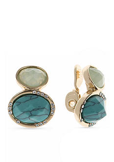 Anne Klein Turquoise Clip Earrings