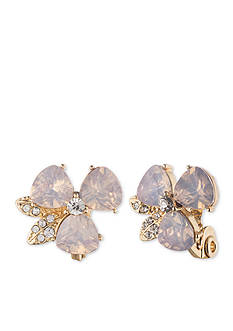 Anne Klein Rose Opal Clip Earrings