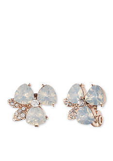 Anne Klein White Opal Flower Clip Earrings