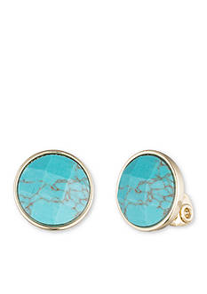 Anne Klein Gold-Tone Turquoise Clip Earrings